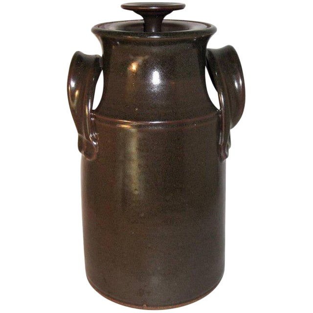 Fred Hamann Studio Art Stoneware Pottery Lidded Canister For Sale