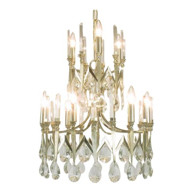 Rare Italian Import Gaetano Sciolari Silver and Crystal Nine-Light Chandelier - Image 1 of 7