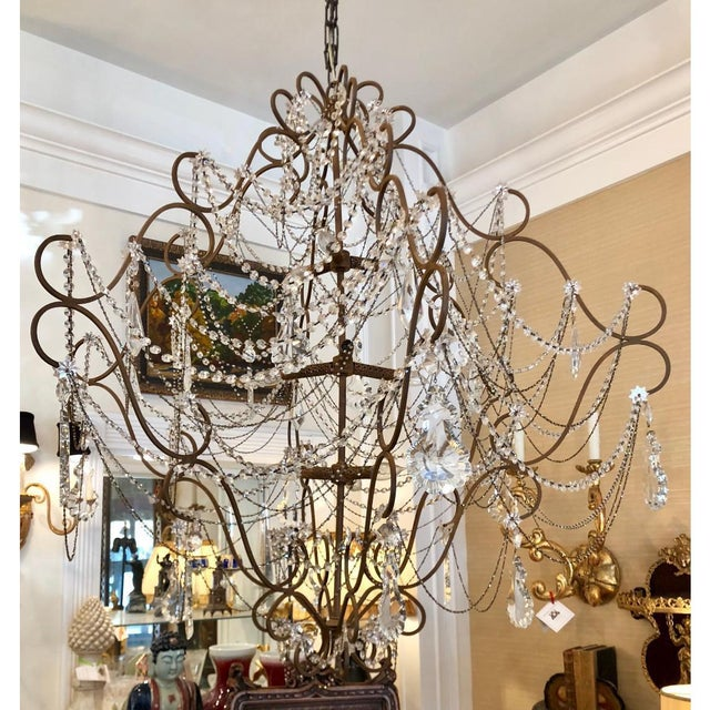 Monumental 9 Light French Beaded & Crystal Chandelier