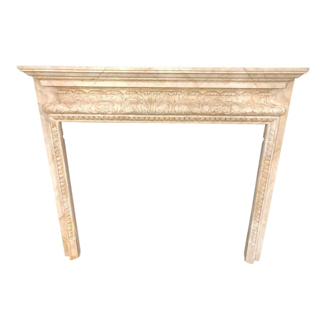 Swedish Painted and Distressed Decorated Fire Surround in Faux Marble Finish For Sale