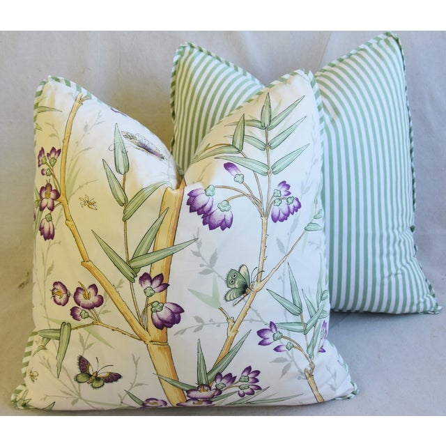 "Clarence House Bamboo Fabric Feather/Down Pillows 21"" Square - Pair For Sale - Image 11 of 13"