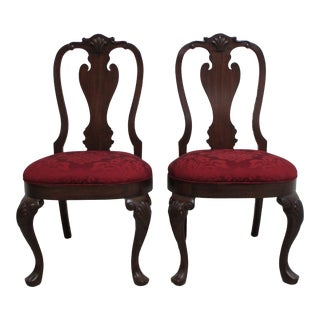 Ethan Allen Newport Paw Foot Mahogany Chippendale Side Chairs- A Pair For Sale