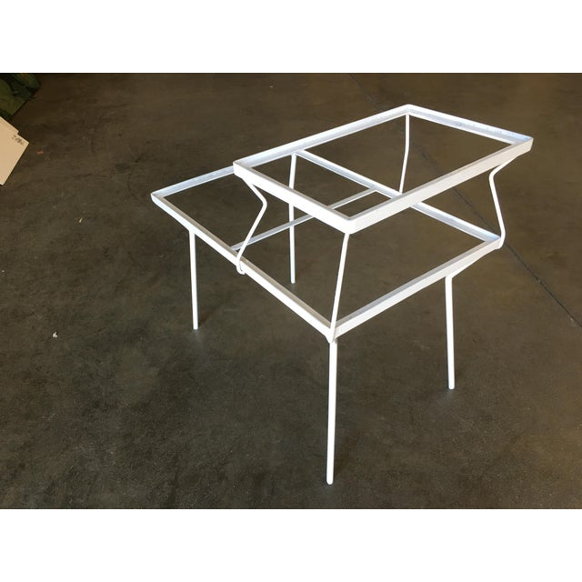 Two-Tier Art Deco Glass Top Outdoor/Patio Side Tables by Woodard - a Pair For Sale In Los Angeles - Image 6 of 8