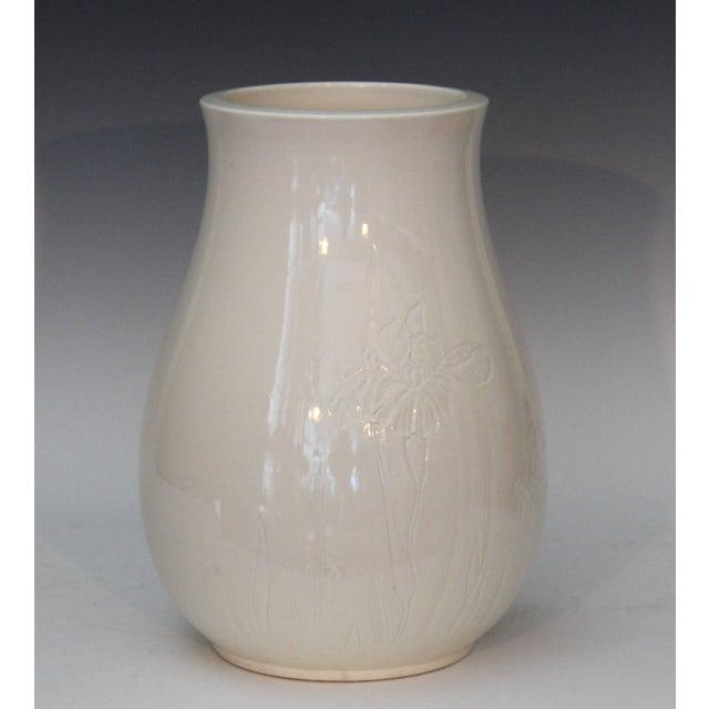 Antique Japanese Carved Studio Blanc De Chine Porcelain Vase For Sale - Image 10 of 11