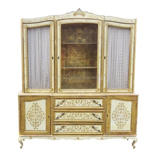Florentine Style Gilt Painted China Cabinet
