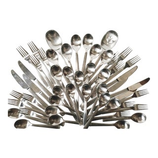 Robert Welch Svenska Satin Stainless Flatware Set - 49 Piece Set For Sale