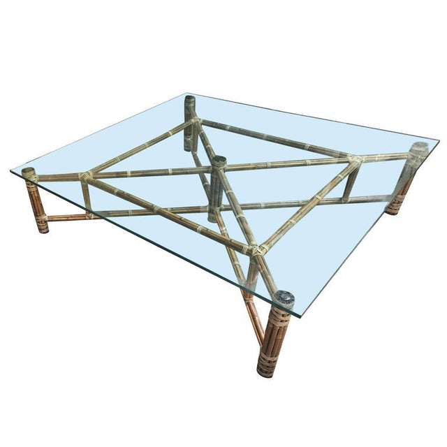 John McGuire Bamboo & Glass Square Coffee Table