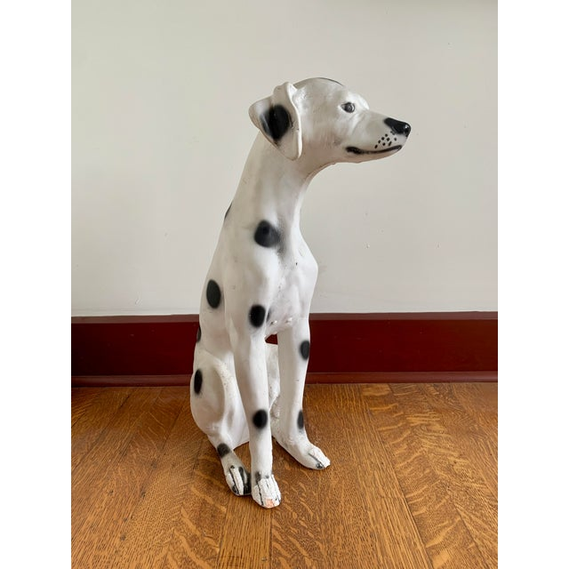 Vintage Chalkware Life Size Dalmatian Statue For Sale - Image 4 of 13