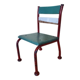 Vintage Teal Children's Chair For Sale