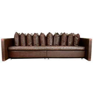 1980s Architectural Leather Sofa by Joseph d'Urso for Knoll International For Sale