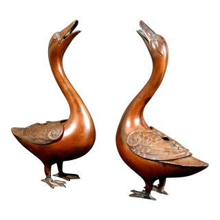 Japanese Bronze Pair of Geese Koro For Sale