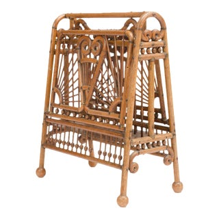Circa 1890 American Oak Stick and Ball Magazine Rack For Sale