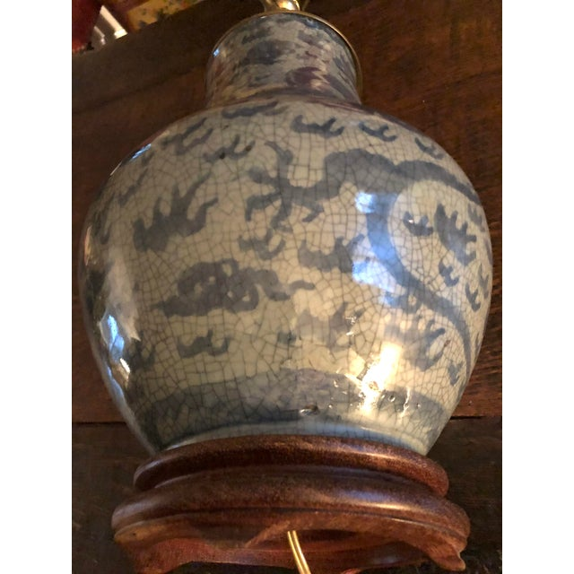 Antique Chinese Hu Form Blue & White Smooth Glaze Ko Ware Vase Lamp For Sale In Minneapolis - Image 6 of 12
