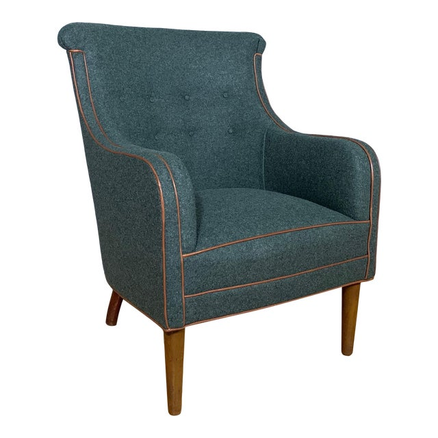 Danish 1950s Armchair, Kvadrat Felted Wool & Leather For Sale