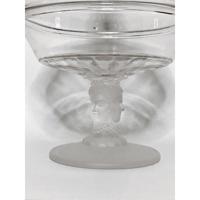 """Victorian EAPG THREE FACES SISTERS LIDDED COMPOTE FOOTED BOWL WITH FROSTED GLASS. The compote stands 8"""" high and 6"""" in..."""