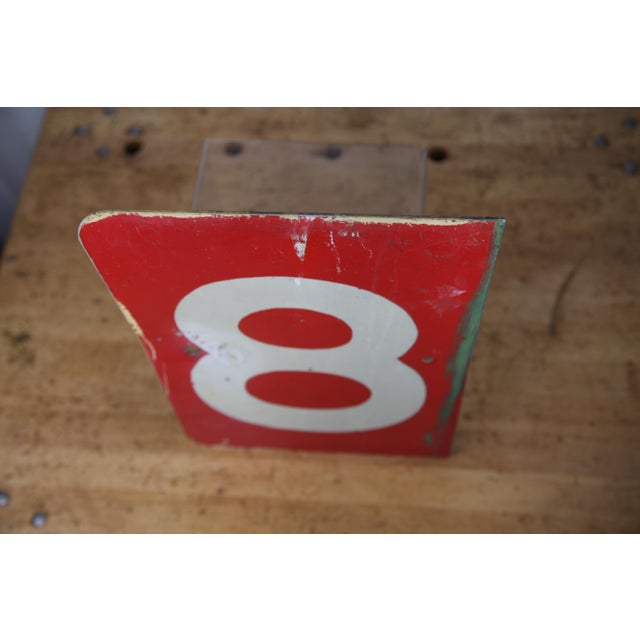 Mid 20th Century Vintage Number 8 Red Metal Sign From Airplane Hanger For Sale - Image 5 of 10