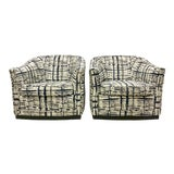 Image of Mid-Century Modern Jack Cartwright Navy & Gray Swivel Chairs-Pair For Sale