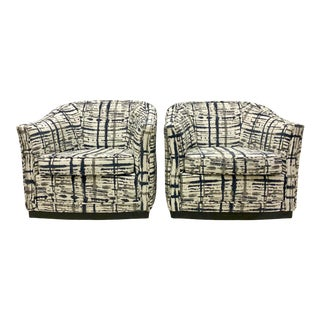 Mid-Century Modern Jack Cartwright Navy & Gray Swivel Chairs-Pair For Sale