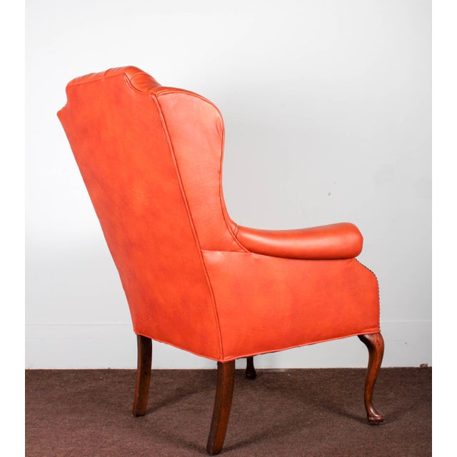 Orange Tufted Leather Queen Anne Mahogany Armchair - Image 7 of 11