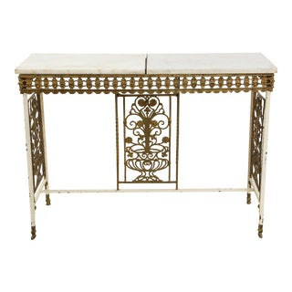 1930s French Gilt Iron and Marble Console