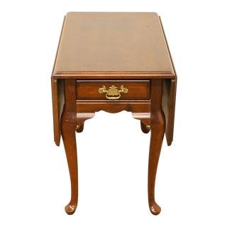 Late 20th Century Vintage Bassett Furniture Solid Cherry Pembroke Drop Leaf End Table For Sale