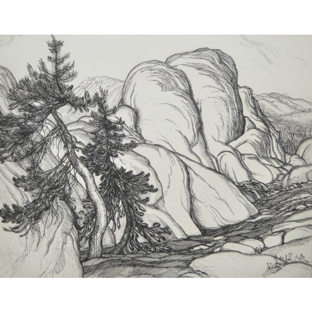 """Ice Worn Granite"" Vintage Etching by Roi Partridge For Sale In San Francisco - Image 6 of 6"