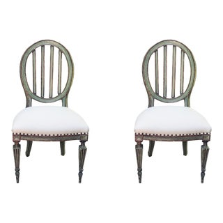 Italian Neoclassical Painted Gilded Side Chairs - a Pair For Sale