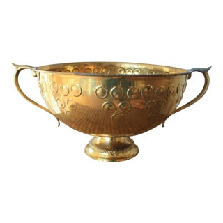 Vintage Footed Brass Bowl With Handles For Sale