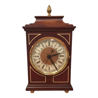 1900s English Traditional Wood and Brass Clock