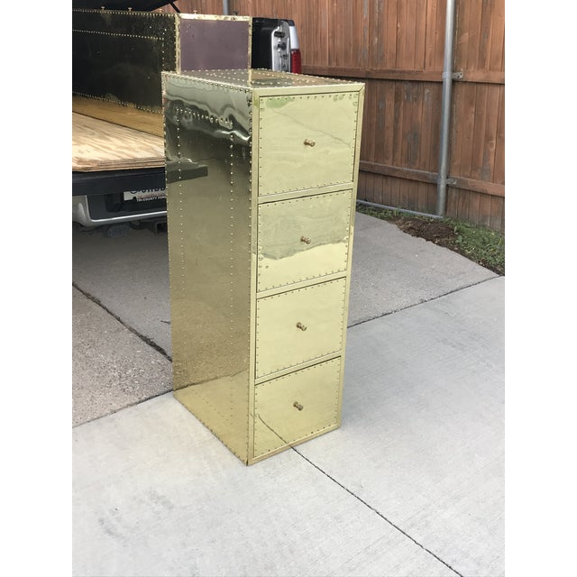1970s Mid Century Modern Brass Studded Four Drawer Filing Cabinet For Sale - Image 10 of 12