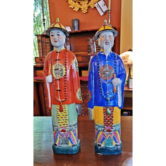 Mid 20th Century Vintage Chinese Ceramic Noblemen - a Pair For Sale - Image 5 of 11