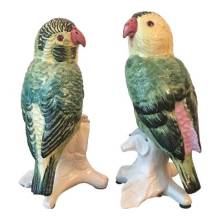 1980s FigurativeHand Painted Colorful Porcelain Parakeets - a Pair