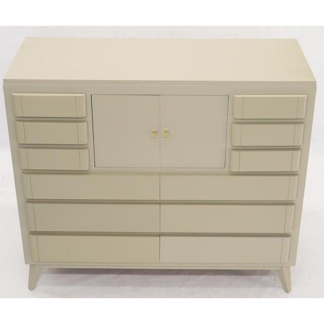 Wood Multiple 12 Drawers Two Door Compartment Cube Shape High Wide Chest Dresser For Sale - Image 7 of 13