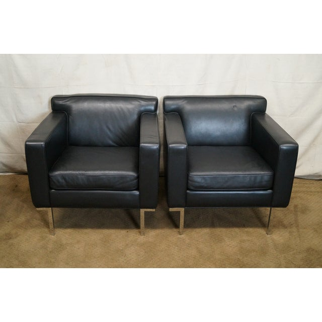 Ted Boerner American Leather Club Chairs - Pair - Image 2 of 10