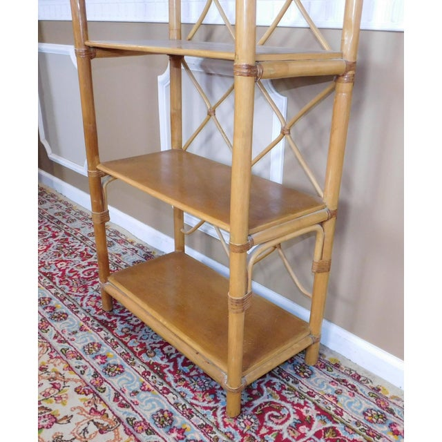 Arched Rattan & Bamboo Etagere - Image 5 of 7