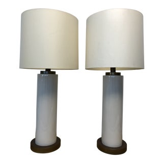 Vintage Ceramic Center and Metal Base and Top Table Lamps with Original Silk Shade - a Pair For Sale