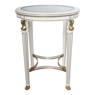 Empire Style Circular Side Table with Glass Inset Top For Sale