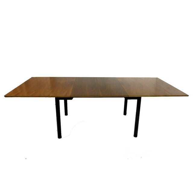 Wood Edward Wormley for Dunbar Walnut Extension Dining Table W Leather Wrapped Feet For Sale - Image 7 of 10