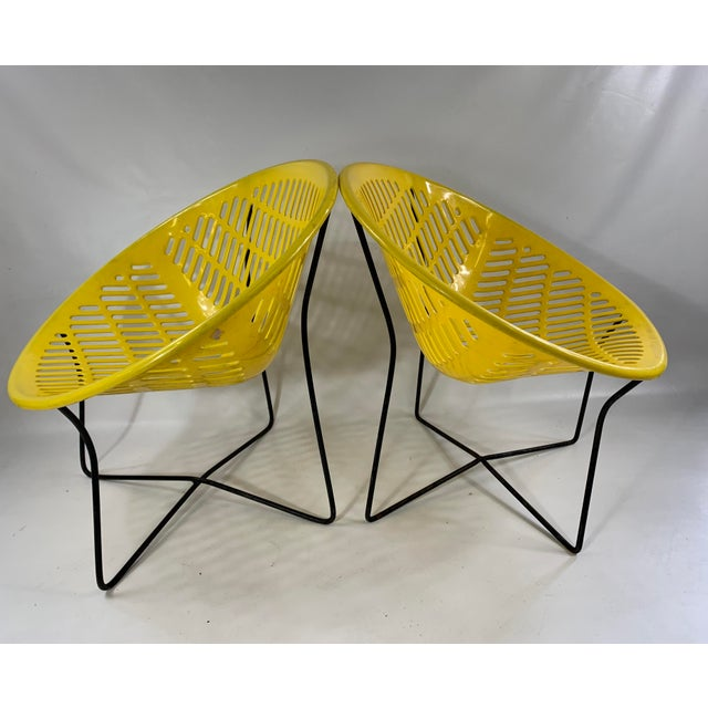 Mid Century Howard Johnson Hotel Yellow Solar Lounge Chairs - A Pair Both chairs are in great shape for there age. Plastic...