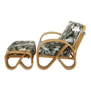 1960s Rattan Pretzel Club Chair & Ottoman-A Set For Sale