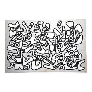 Vintage Mid 20th C. Modern Abstract Heliogravure-Jean Dubuffet-Switzerland C.1973 For Sale