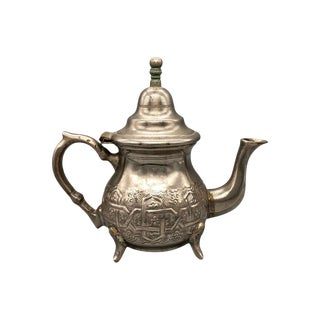 Antique Moroccan Silver Plated Brass Tea Pot For Sale