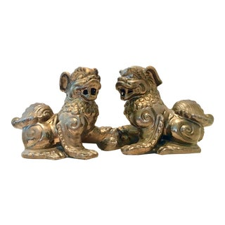 Contemporary Antique Gold Ceramic Foo Dog Sculptures - a Pair