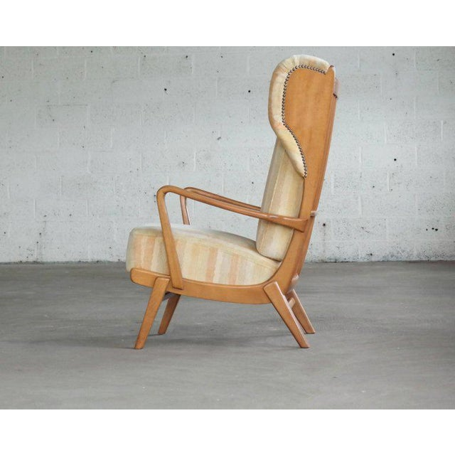 Danish Midcentury Wingback Lounge Chair With Exposed Sides For Sale - Image 4 of 13