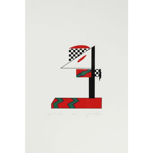 """This late 20th century abstract serigraph on paper in red, green, black and white entitled """"Signal Three"""" is by Northern..."""