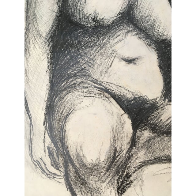 Contemporary 1960 Nude Seated Woman Charcoal Drawing For Sale - Image 3 of 4