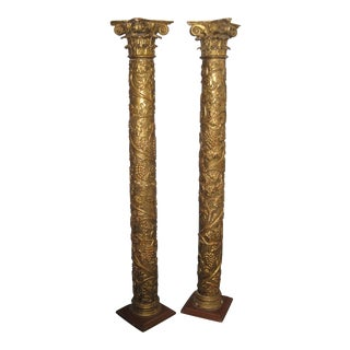 18th Century Antique Giltwood Columns - a Pair For Sale