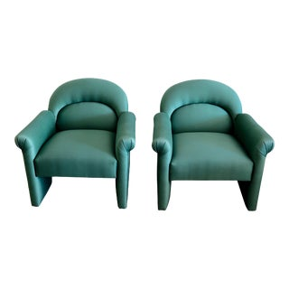 Upholstered Emerald Green Postmodern Lounge Chairs - A Pair For Sale