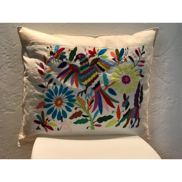 Multicolor Mexican Tenango Hand Embroidered Pillow Cover For Sale - Image 4 of 4