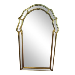 Gold Gilded Italian Ethan Allen Keyhole Mirror For Sale